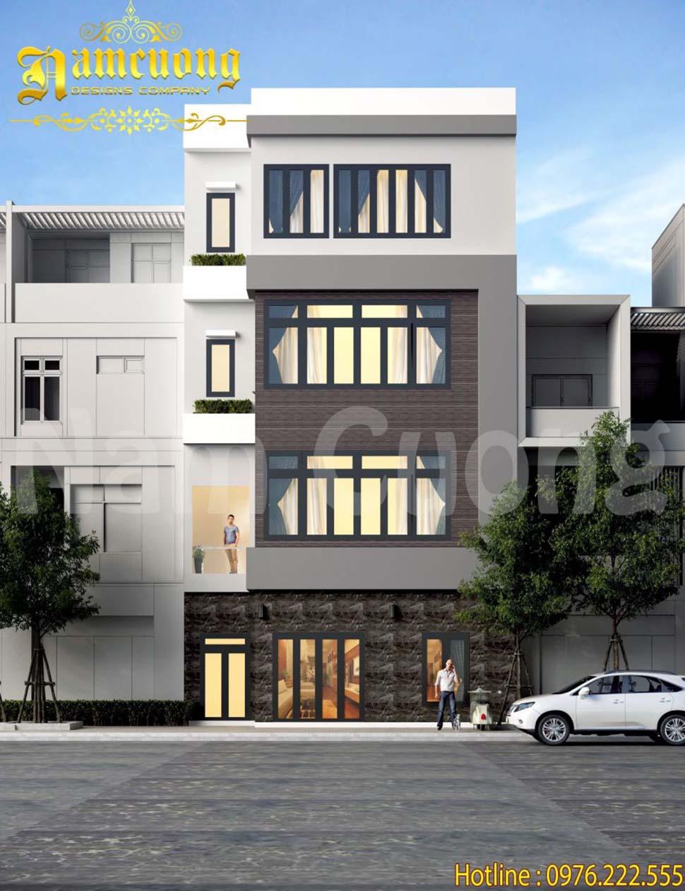 Thiết kế nhà 4 tầng hiện đại phong cách biệt thự hiện đại