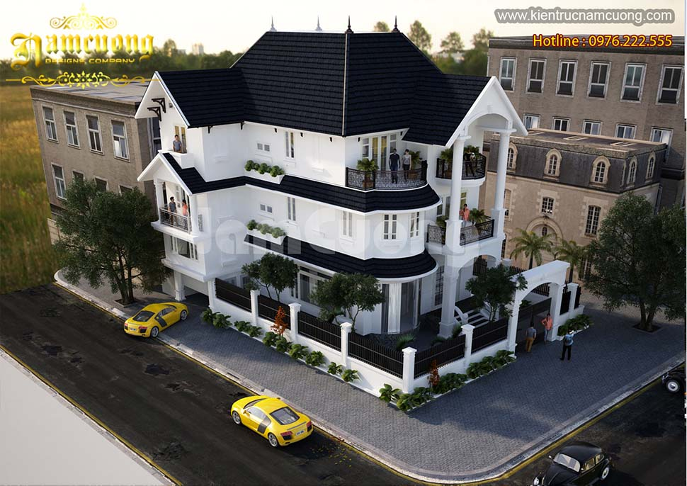 Thiết kế biệt thự 3 tầng 2 mặt tiền tân cổ điển