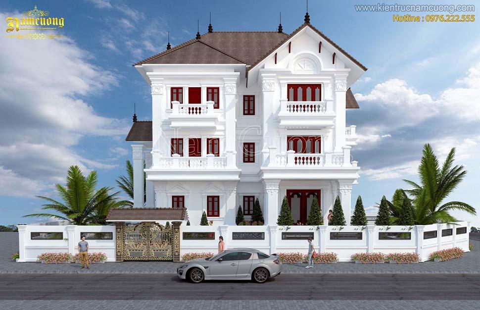 Thiết kế biệt thự 3 tầng 5 phòng ngủ tân cổ điển
