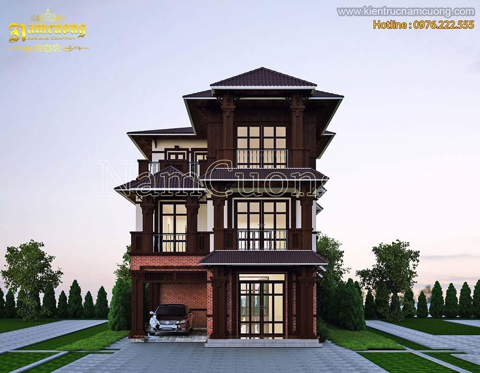 Thiết kế biệt thự 3 tầng bằng gỗ độc đáo