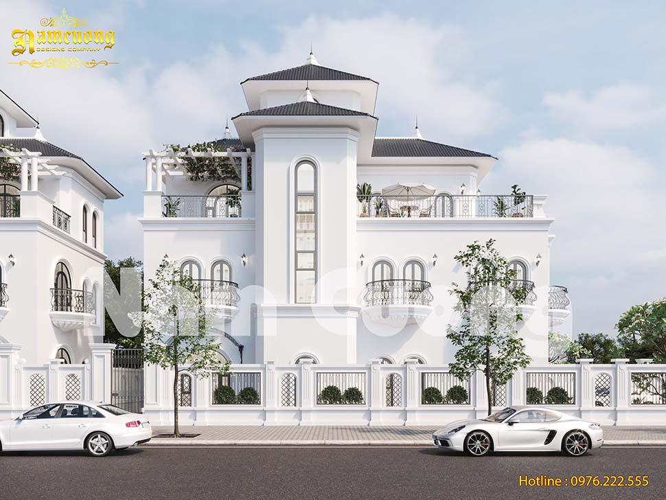 Biệt thự 3 tầng màu trắng phong cách tân cổ điển