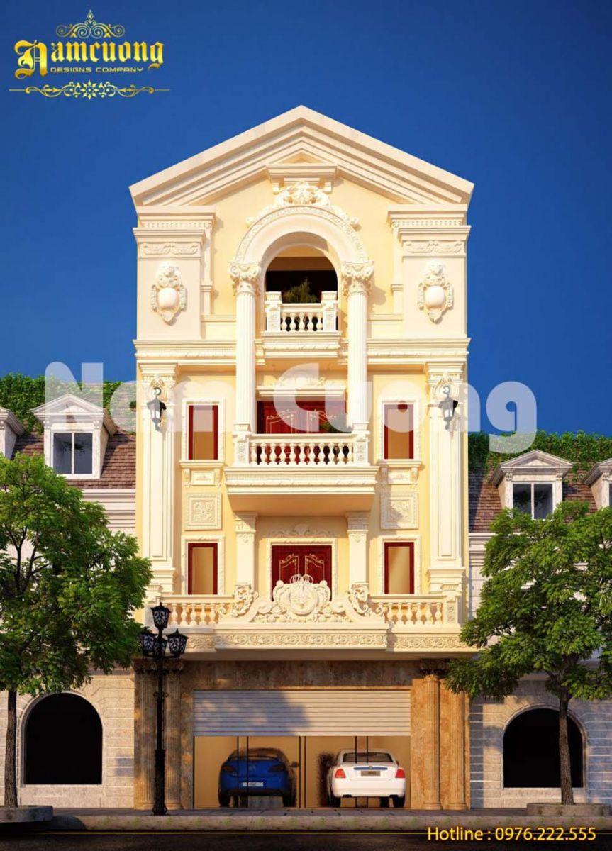 Mẫu biệt thự phố 4 tầng cổ điển kiến trúc Pháp