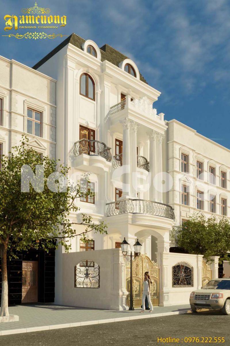 Thiết kế biệt thự 4 tầng 200m2 kiểu Pháp đẹp thời thượng