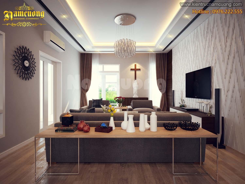 Thiết kế phòng khách hài hòa cho biệt thự hiện đại tại Quảng Ninh