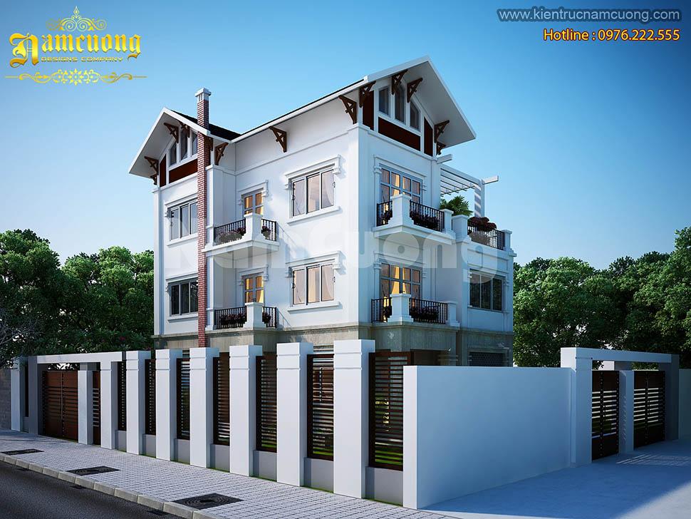 Thiết kế biệt thự hiện đại 3 tầng mặt tiền 10m tại Hải Phòng -BTHD 003