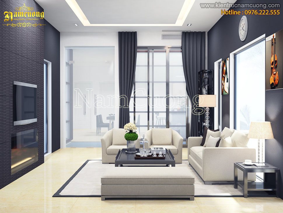 Độc đáo phòng khách thiết kế biệt thự hiện đại tại Hà Nội - PKHD 019