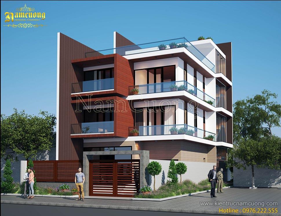 Mẫu thiết kế biệt thự hiện đại 3,5 tầng đẹp tại Quảng Ninh - BTHD 011