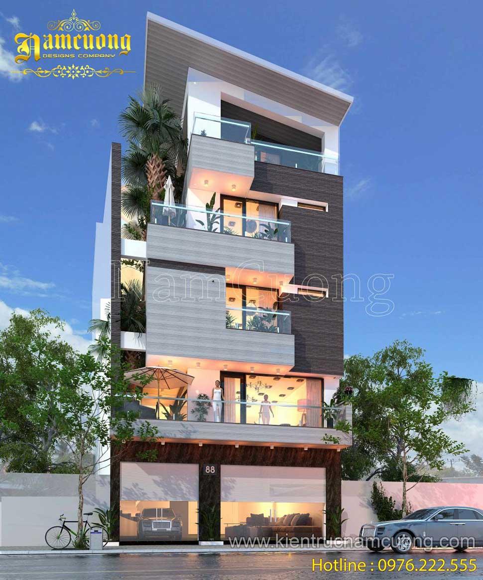 Thiết kế biệt thự hiện đại 5 tầng ấn tượng tại Hải Phòng - BTHD 012