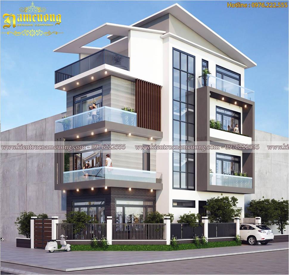 Mẫu thiết kế biệt thự hiện đại 4 tầng tại Vĩnh Phúc - BTHD 016