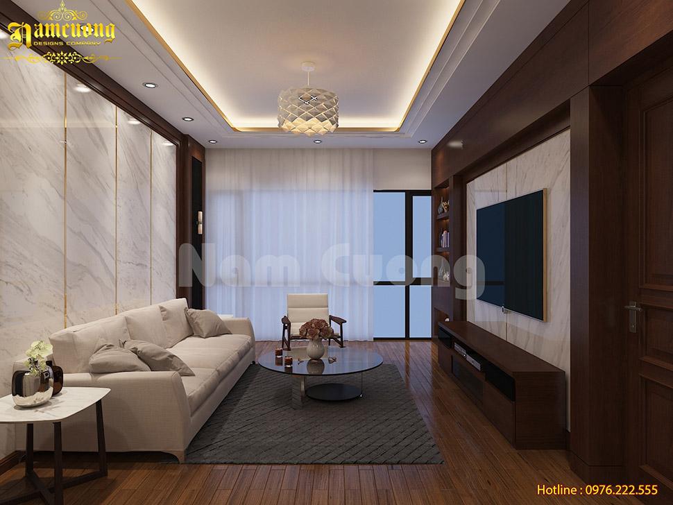 Thiết kế nội thất khu sinh hoạt cho nhà ở kết hợp kinh doanh hiện đại