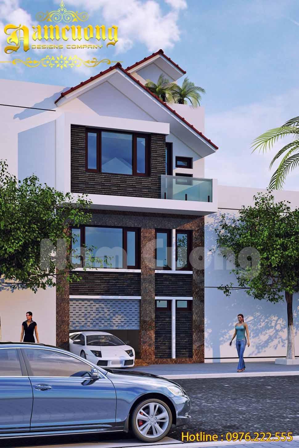 Thiết kế biệt thự phong cách hiện đại 3 tầng với mặt tiền chỉ 5,5m