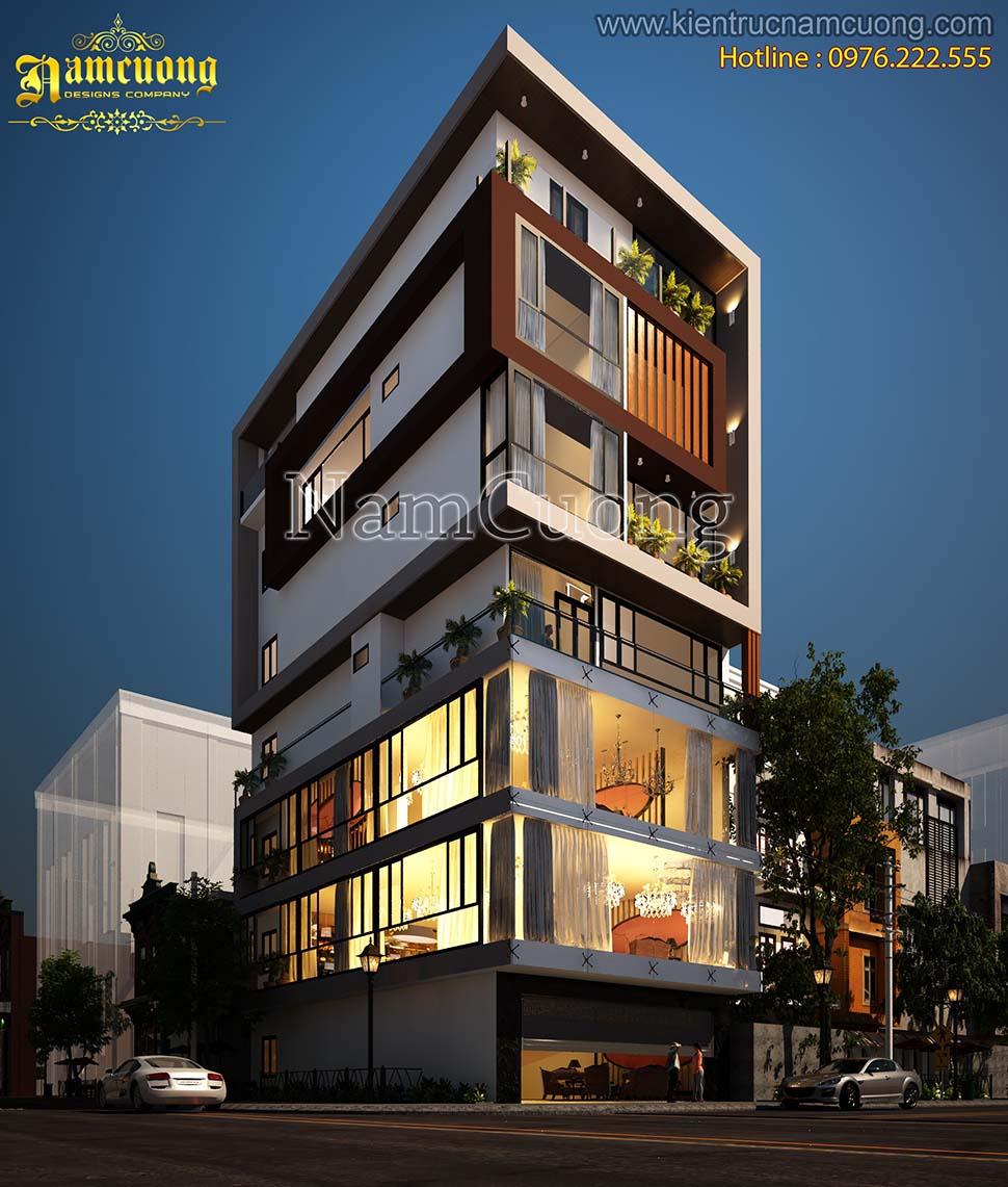 Mẫu nhà phố kết hợp kinh doanh 7 tầng hiện đại ở Hà Nam - NPHD 005
