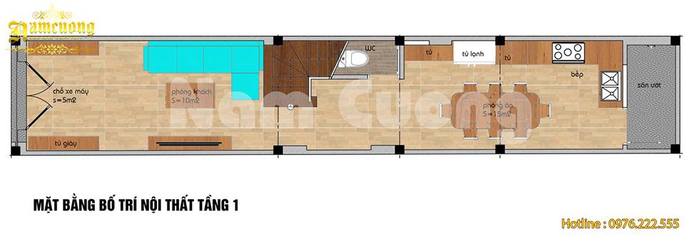 Bản vẽ mặt bằng nhà ống 4 tầng tân cổ điển tại Hải Phòng
