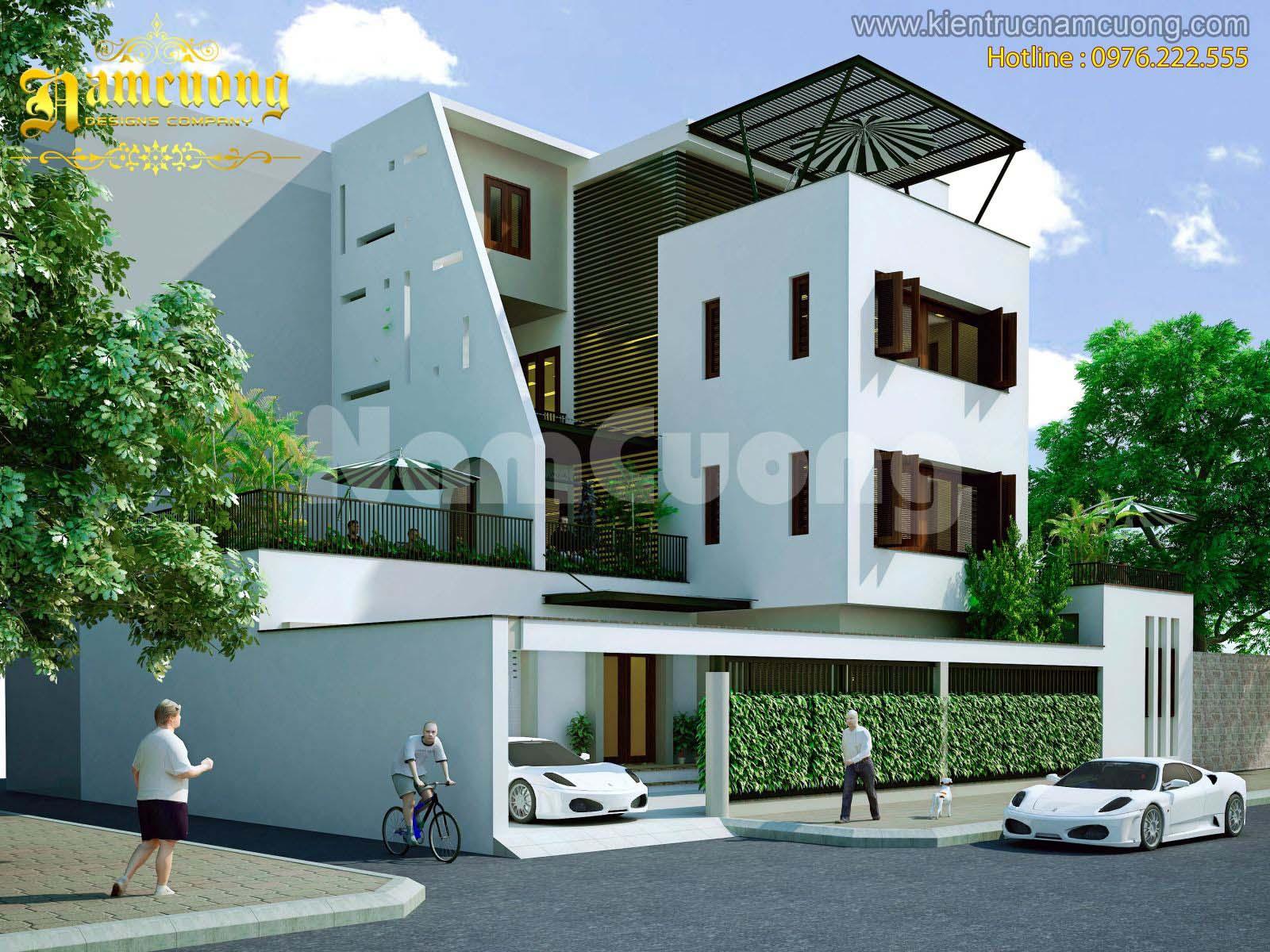 Thiết kế biệt thự hiện đại 4 tầng mặt tiền 15m tại Hải Phòng - BTHD 001