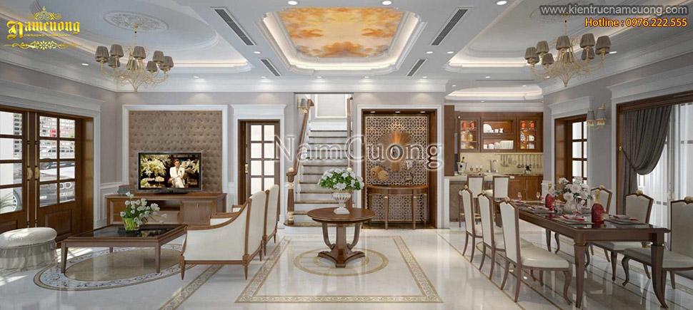 Mẫu nội thất phòng khách bếp tân cổ điển ấn tượng tại Hải Phòng - NTKBCD 032