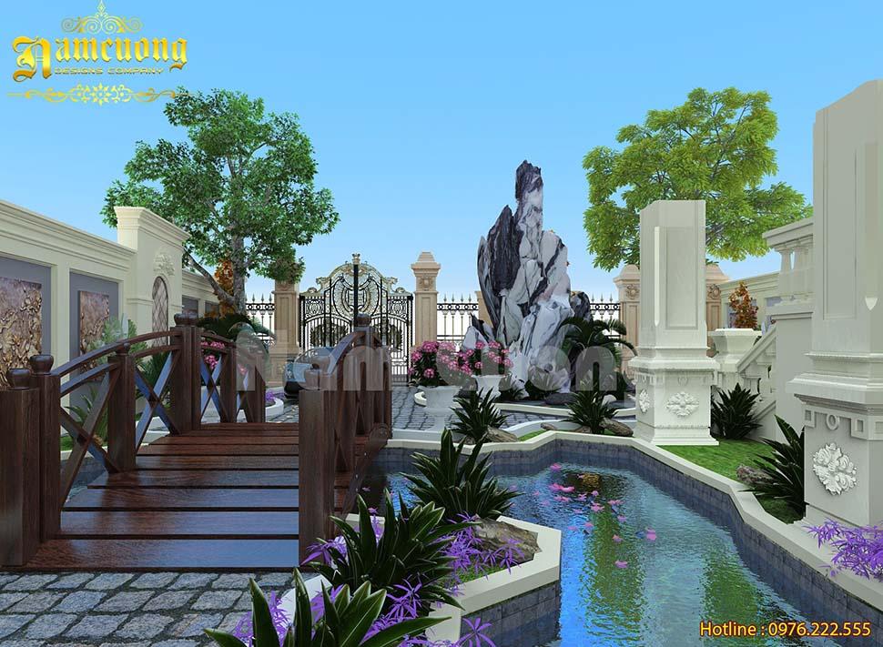 Mẫu thiết kế tiểu cảnh đẹp cho biệt thự lâu đài tại Vĩnh Phúc