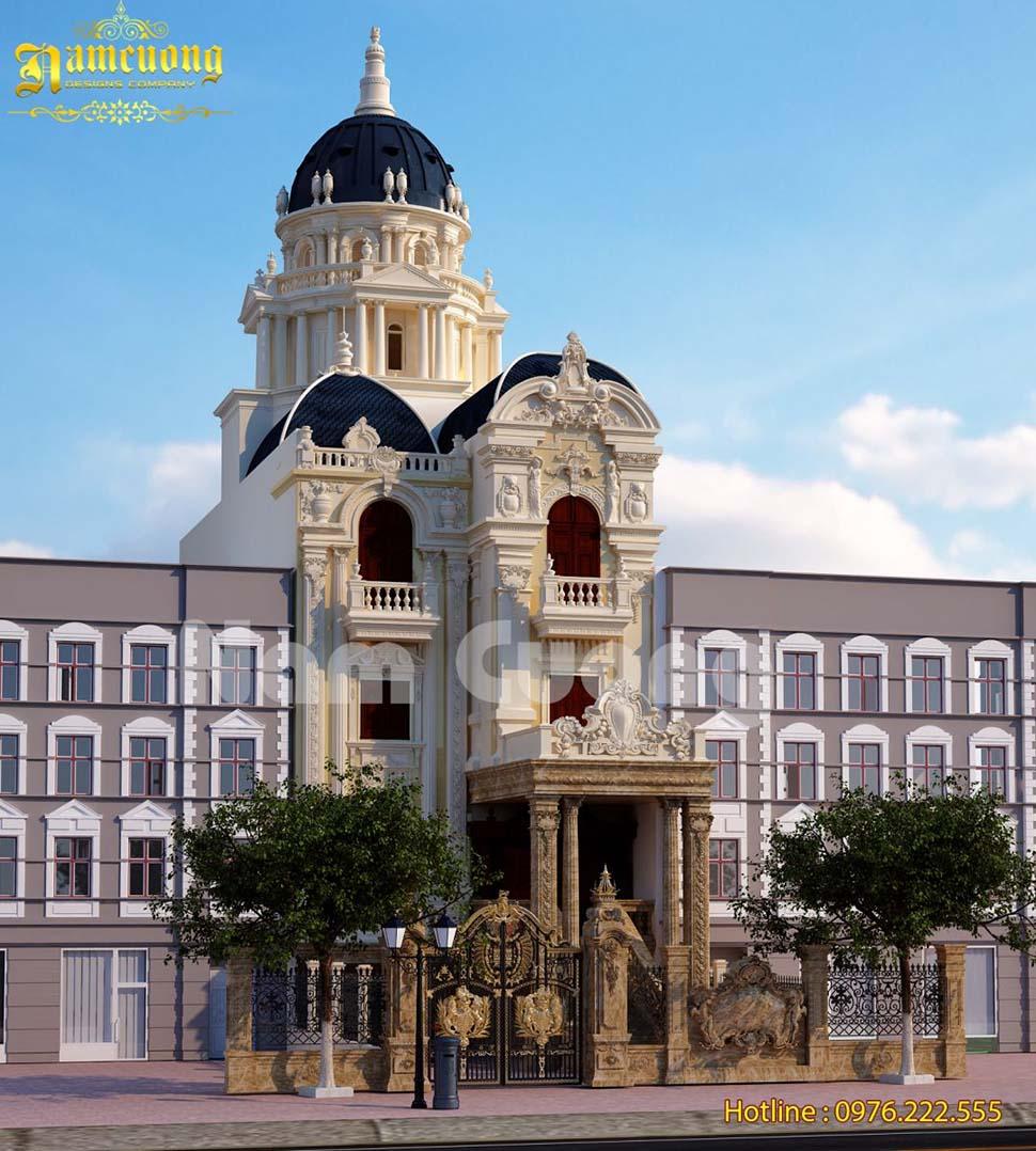 Thiết kế biệt thự lâu đài mặt tiền 8m ấn tượng - BTLD 030