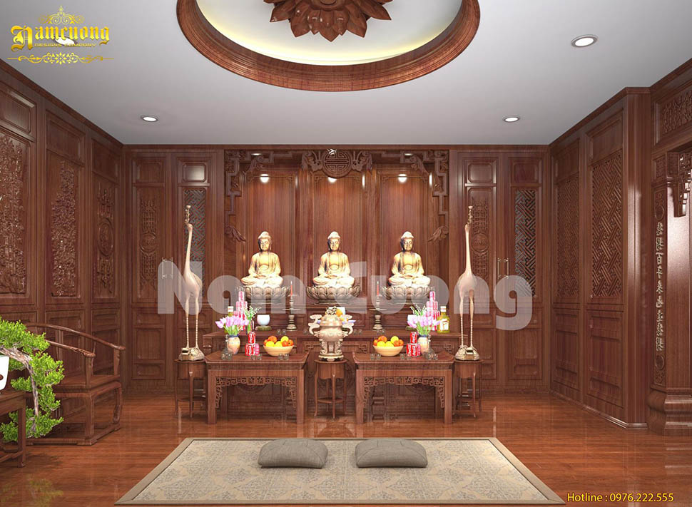 Đậm chất Á Đông trong mẫu thiết kế nội thất phòng thờ tại Sài Gòn