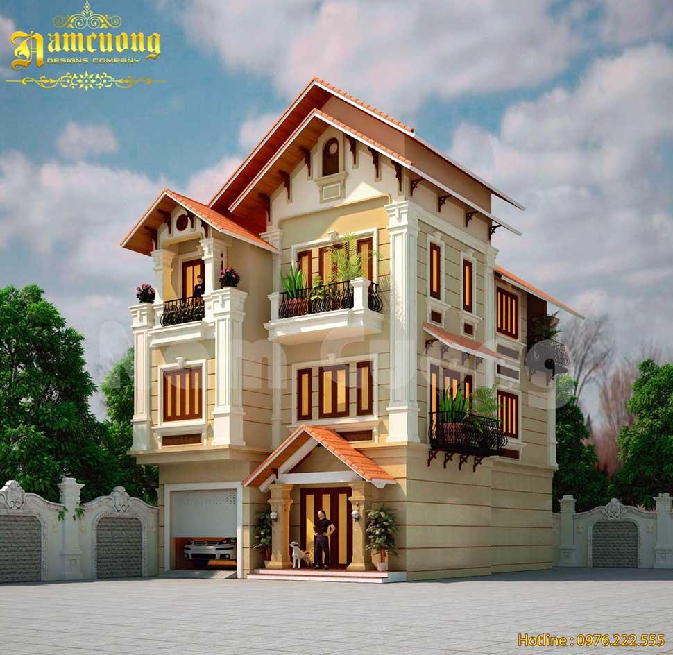Thiết kế biệt thự mái ngói đỏ tân cổ điển tại Lạng Sơn