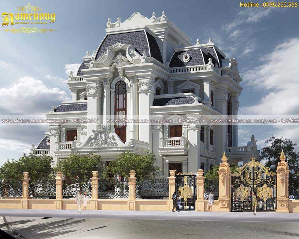 Thiết kế biệt thự Pháp cổ điển 4 tầng đẹp ngất ngây