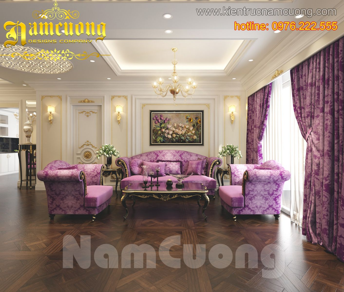Nội thất biệt thự kiểu Pháp đẹp, lãng mạn với tone màu tím
