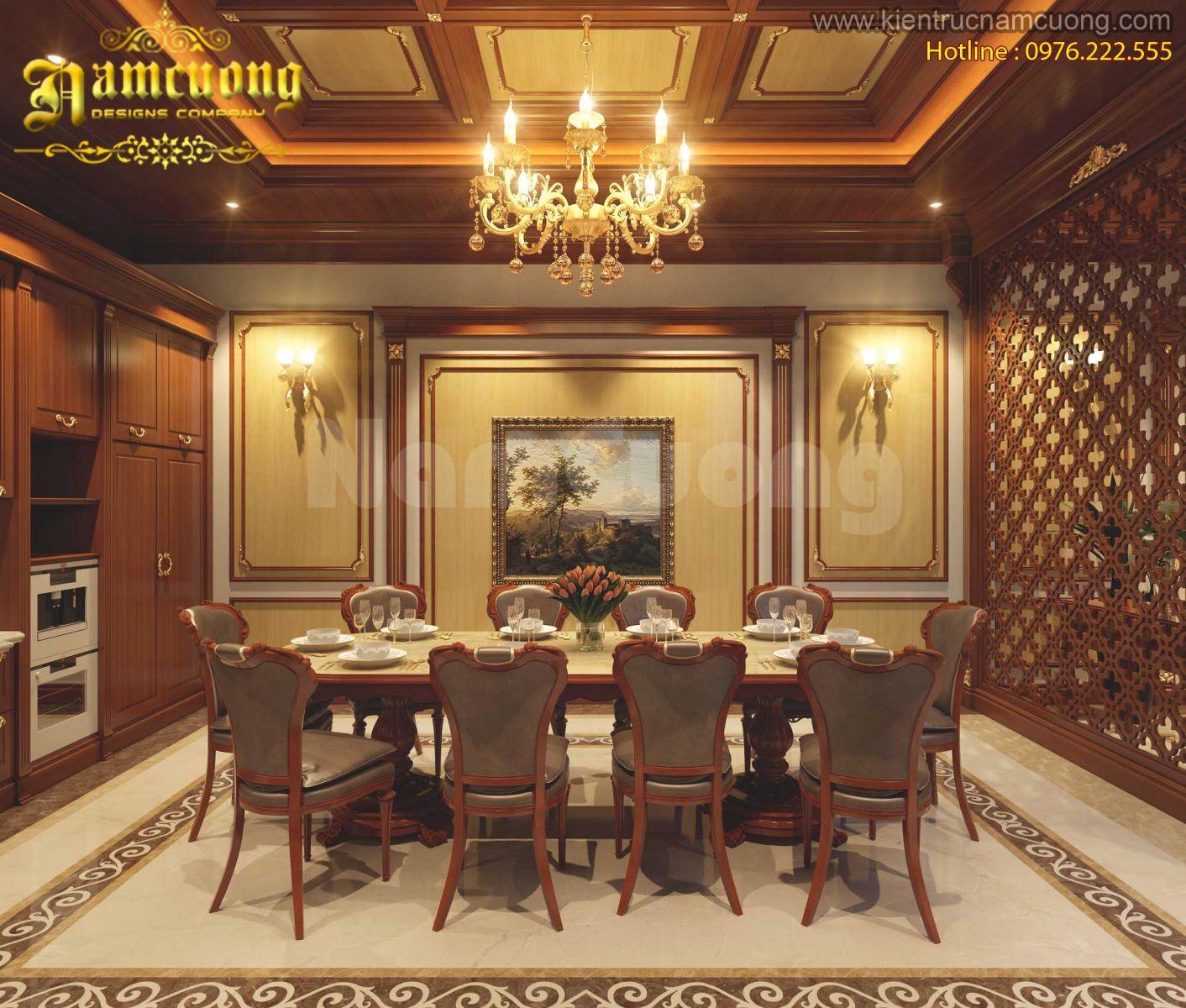 Mẫu nội thất phòng ăn cho biệt thự Pháp cổ điển tại Hà Nội