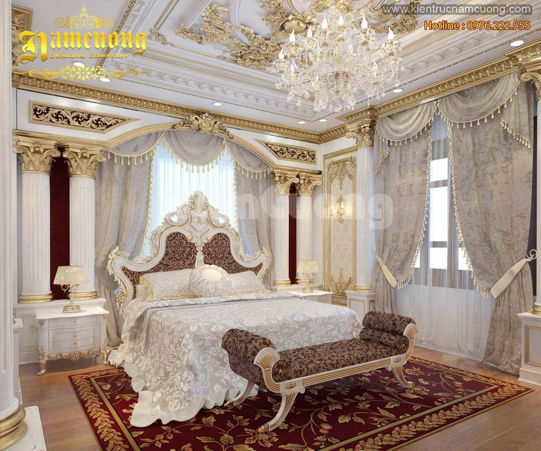 Thiết kế nội thất phòng ngủ biệt thự Pháp cổ điển đáng mơ ước