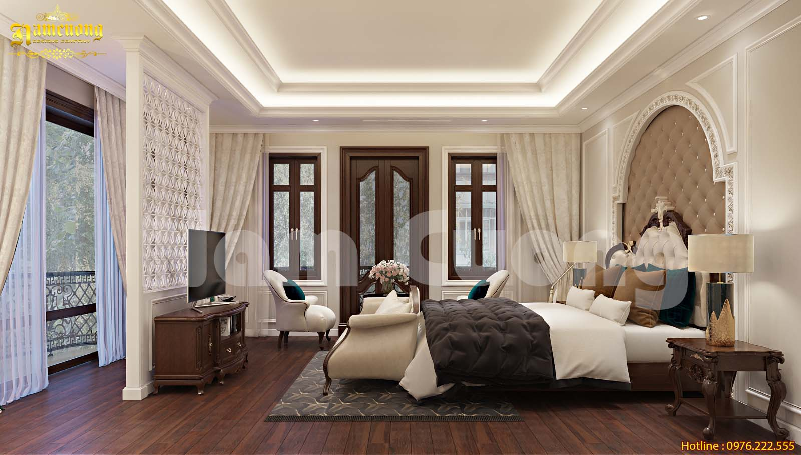 Thiết kế nội thất phòng ngủ tân cổ điển đẹp cho nhà ống tại Hải Phòng-CĐT cô Tính
