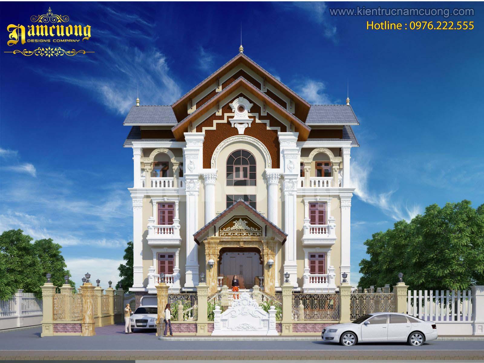 Thiết kế biệt thự kiến trúc Pháp tại Sài Gòn cao 3 tầng ấn tượng - BTP 010