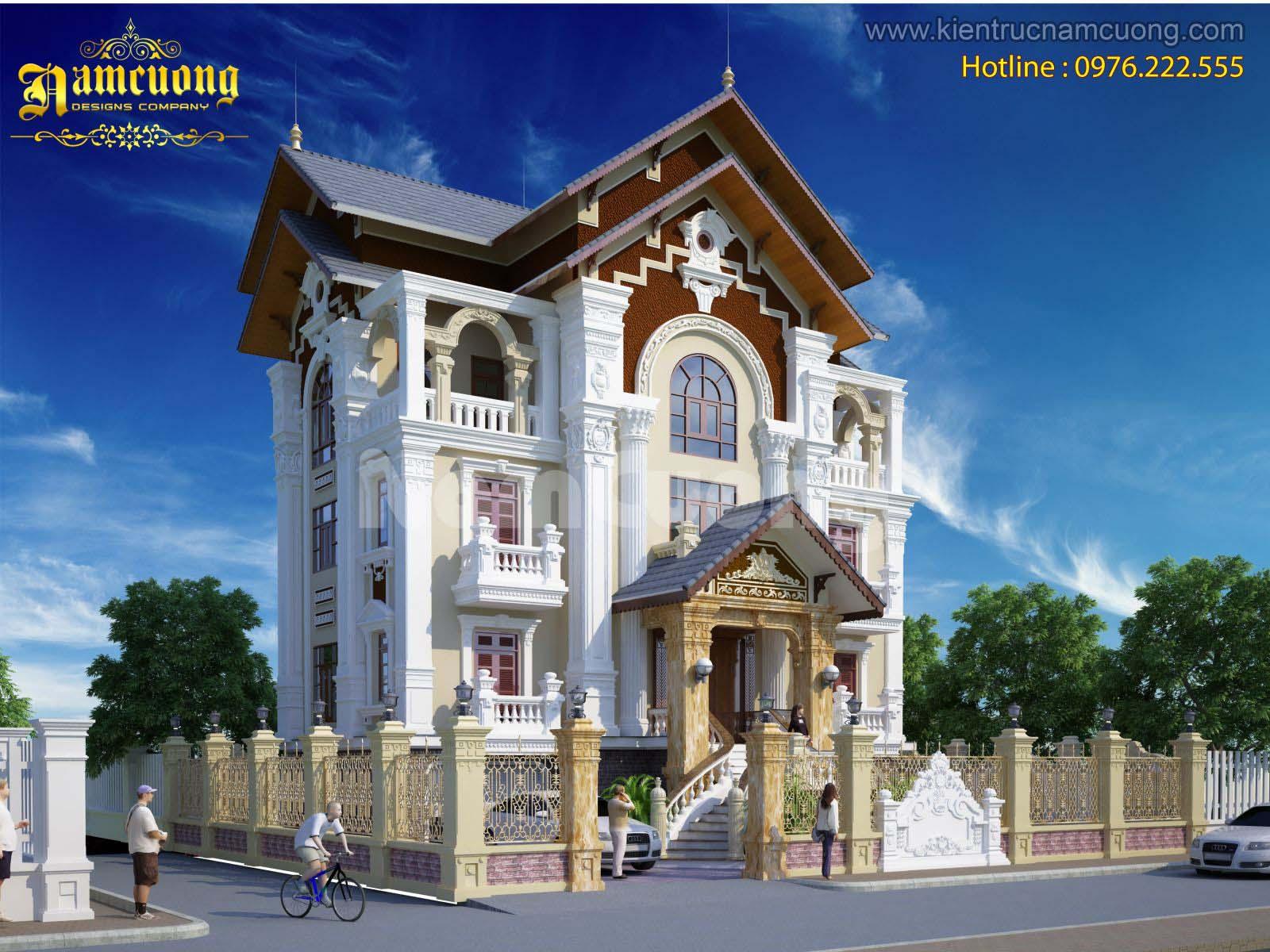 Mẫu biệt thự kiến trúc Pháp cổ điển đẳng cấp tại Hà Nội - BTP 014