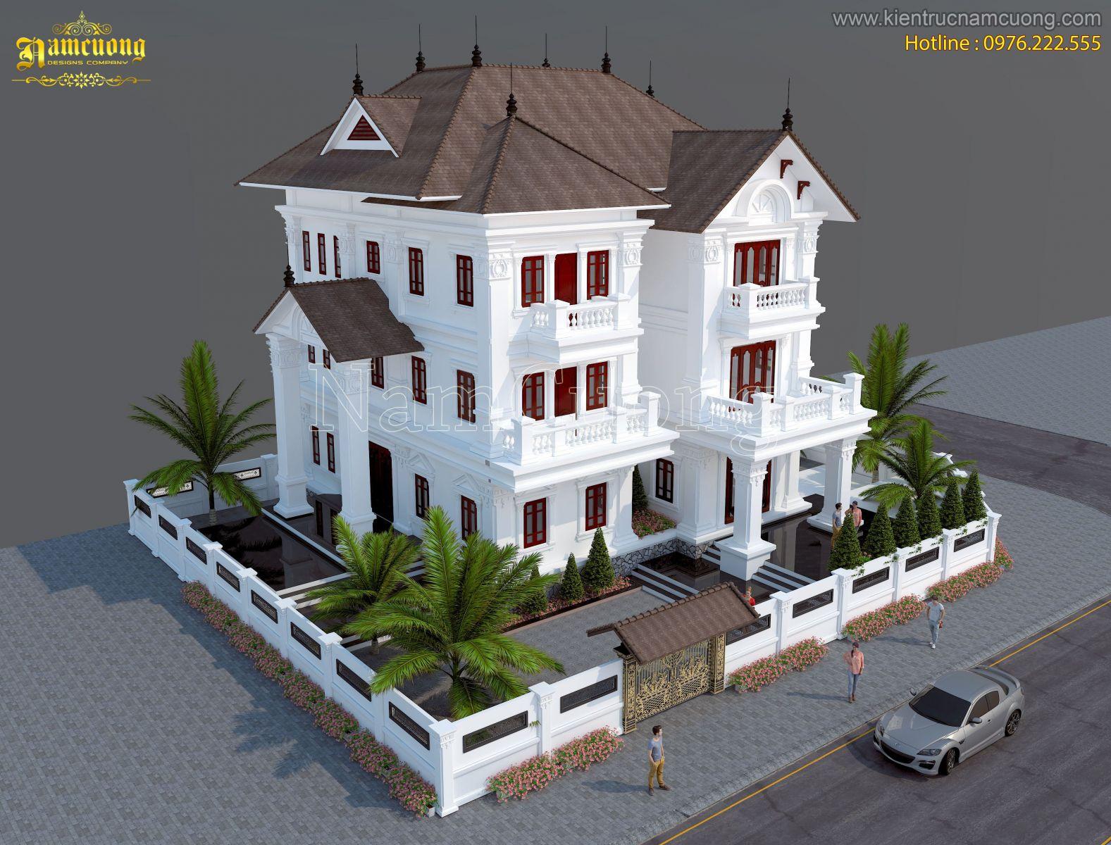Mẫu biệt thự đẹp 3 tầng phong cách tân cổ điển sang trọng - BTCD 021