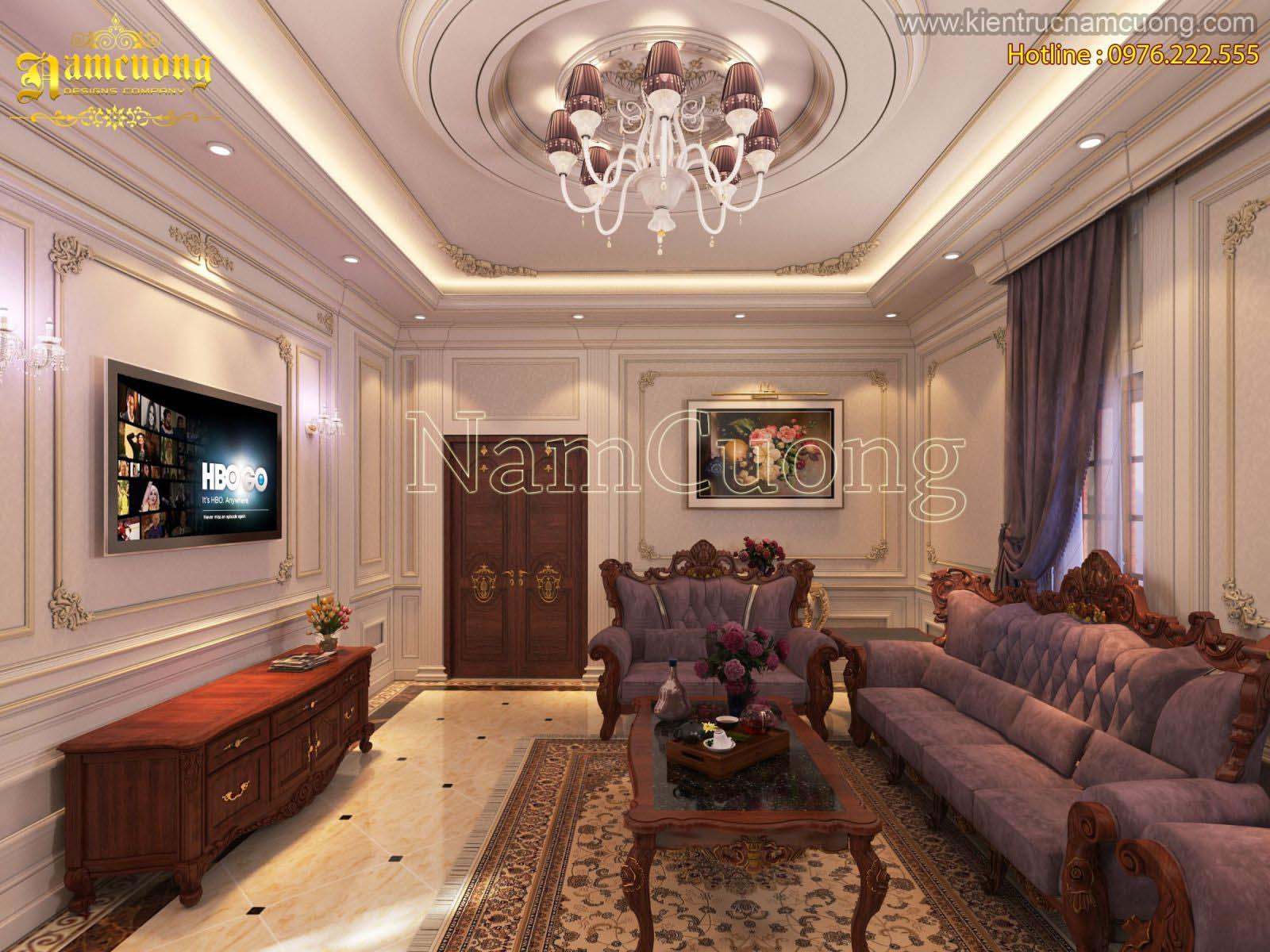 Phòng khách phong cách tân cổ điển đẹp tại Sài Gòn - NTKTCD 059