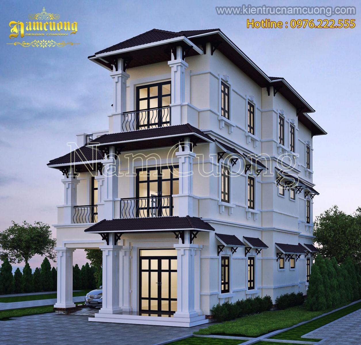 Biệt thự kiến trúc tân cổ điển 3 tầng đẹp tại Hà Nội - BTCD 025