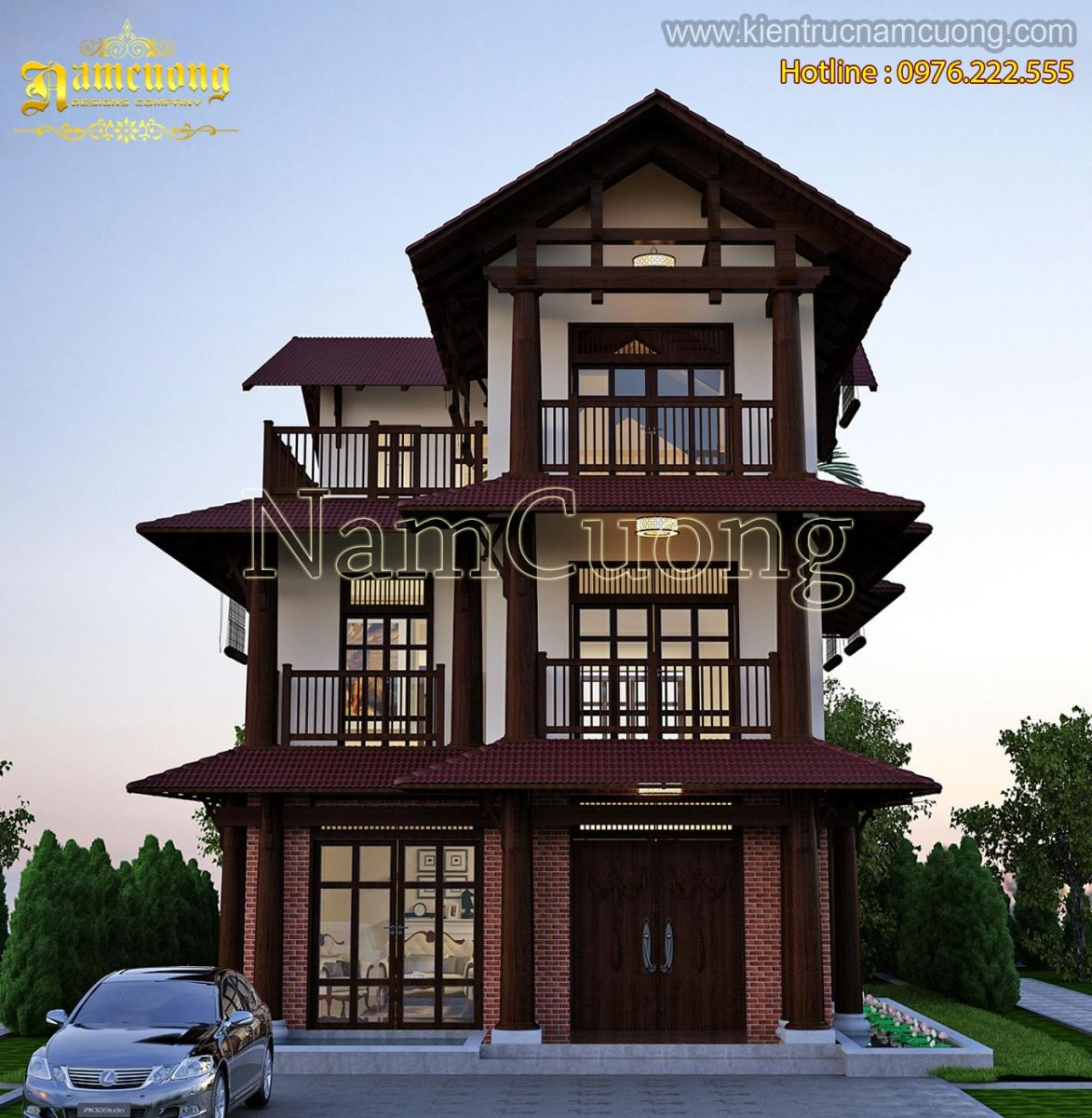 Độc đáo với mẫu thiết kế biệt thự tân cổ điển tại Hà Nội - BTCD 030