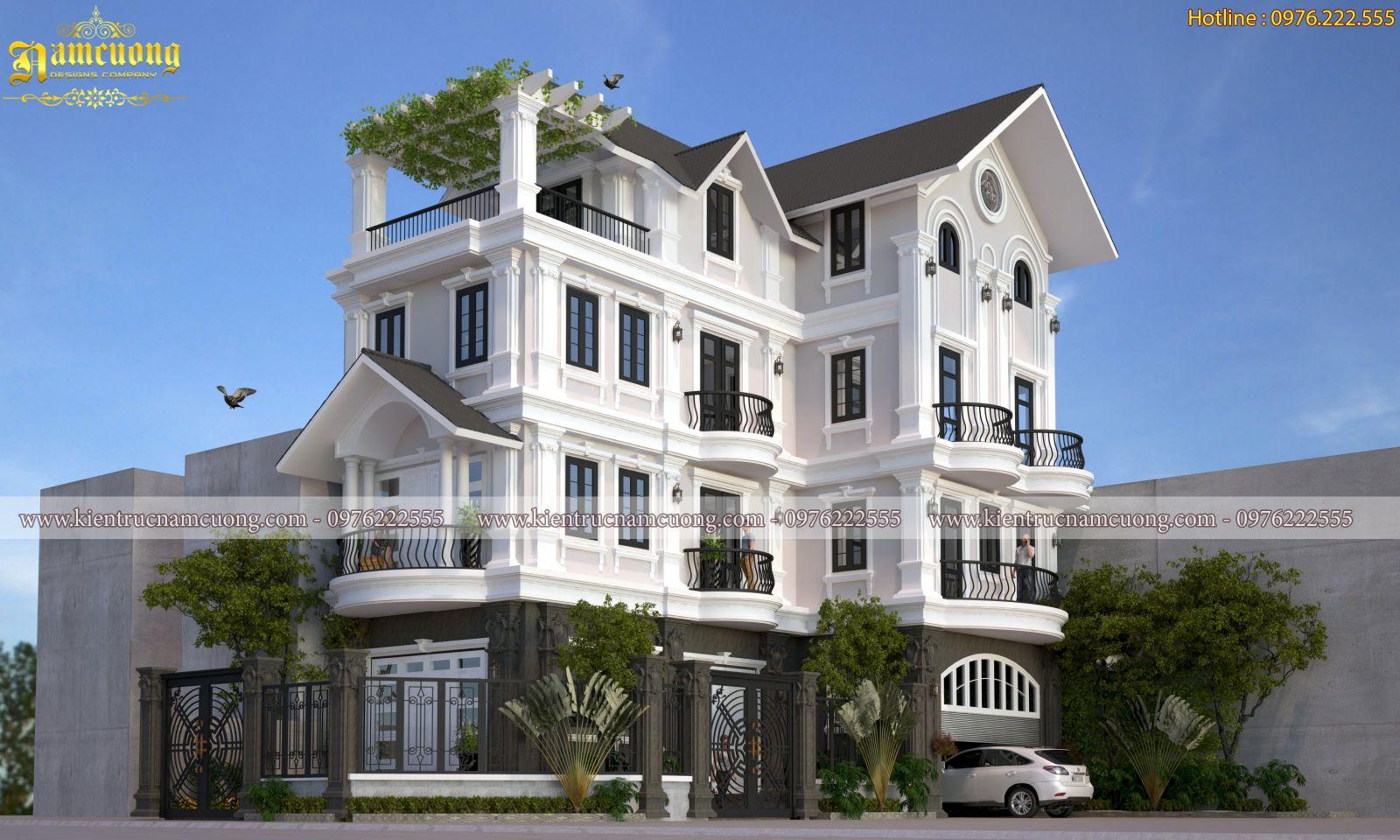 Thiết kế biệt thự tân cổ điển 4 tầng tại Hà Nội - BTCD 040