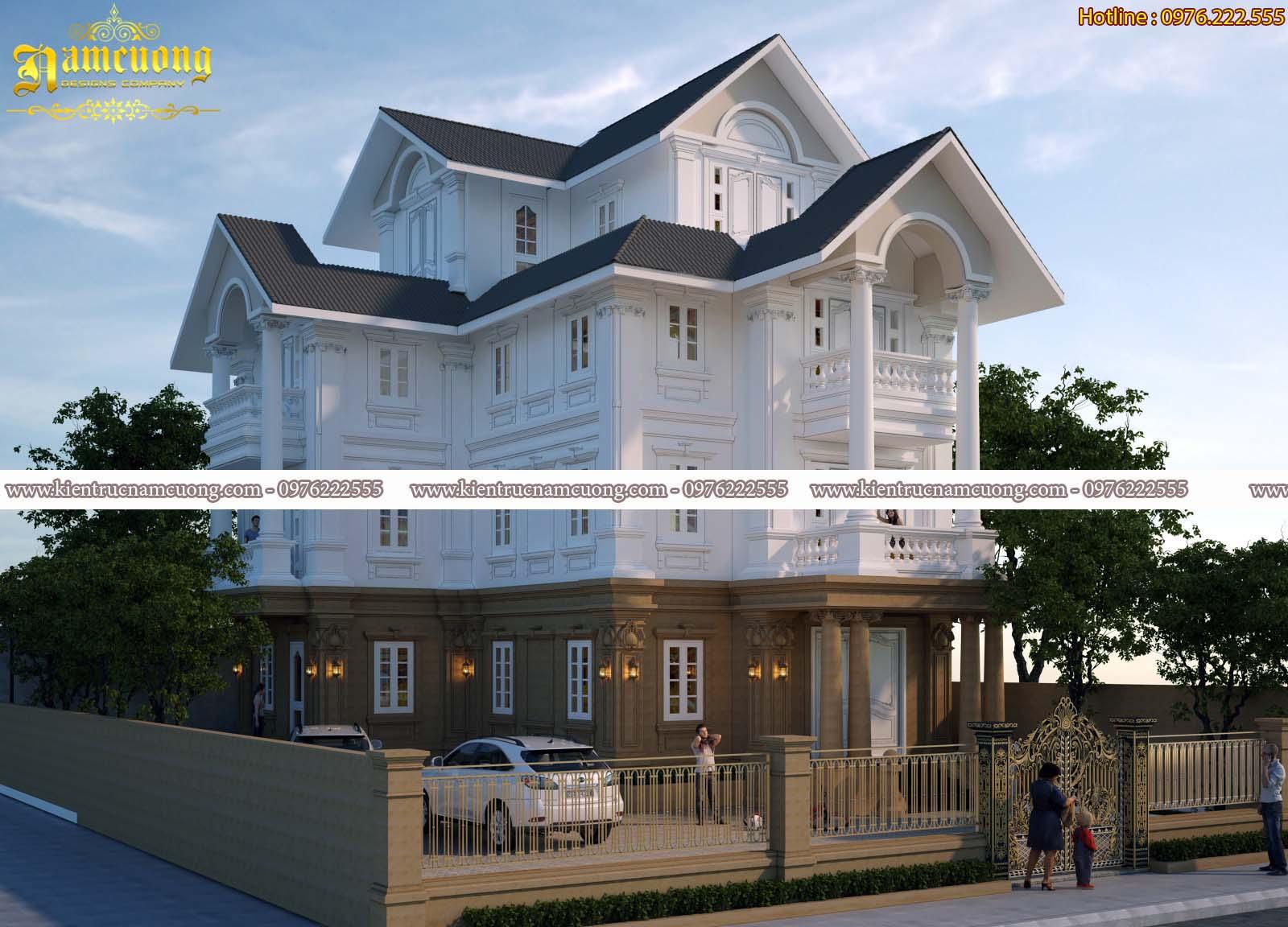 Thiết kế biệt thự tân cổ điển 4 tầng đẹp tại Hải Phòng - BTCD 036