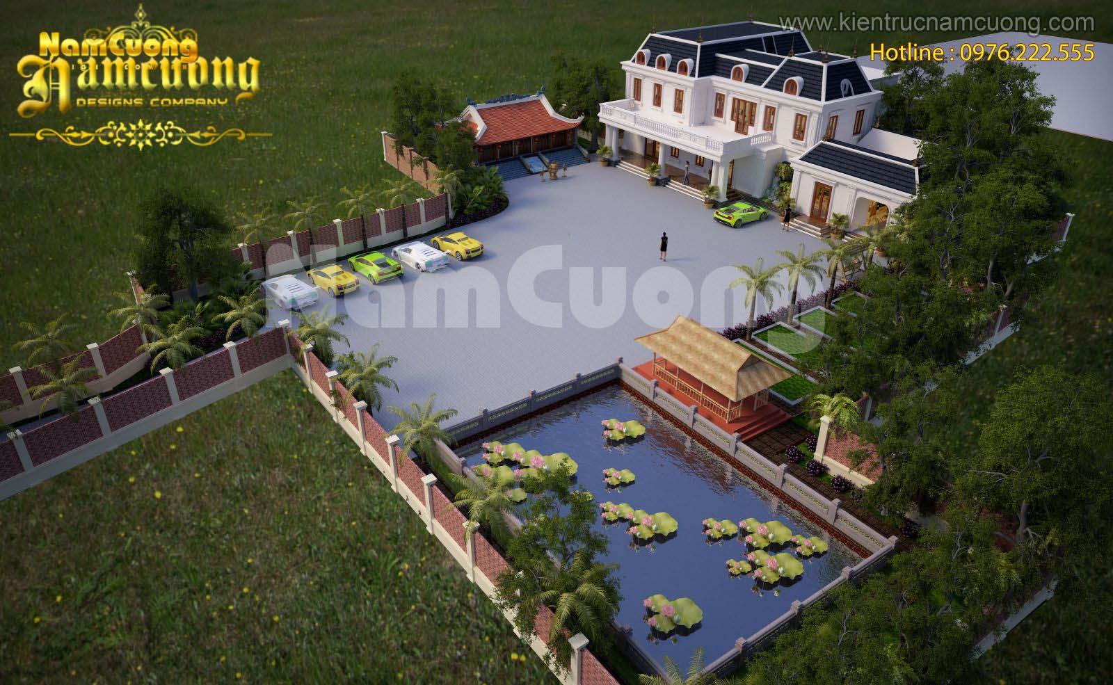 Mẫu biệt thự nhà vườn tân cổ điển đẹp tại Quảng Ninh - BTNVCD 001