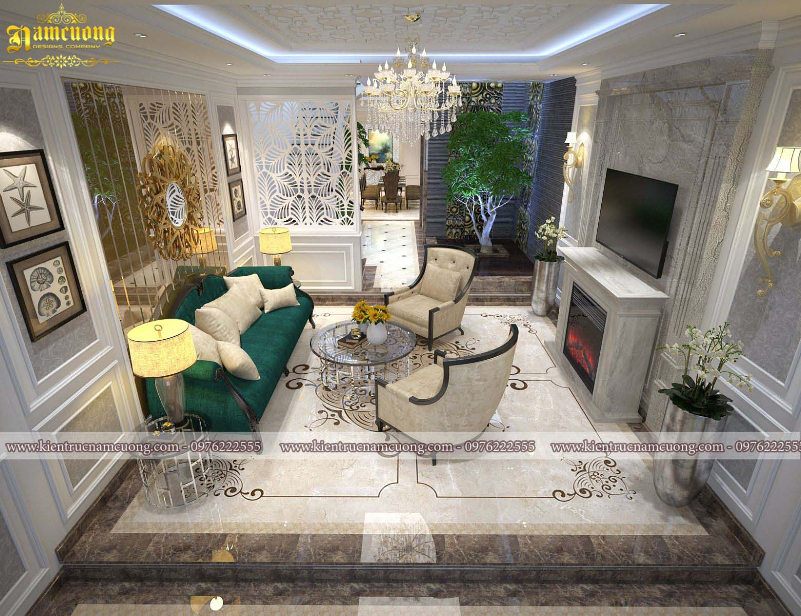 Mẫu nội thất phòng khách đẹp cho nhà phố cổ điển- NTPKCD 063