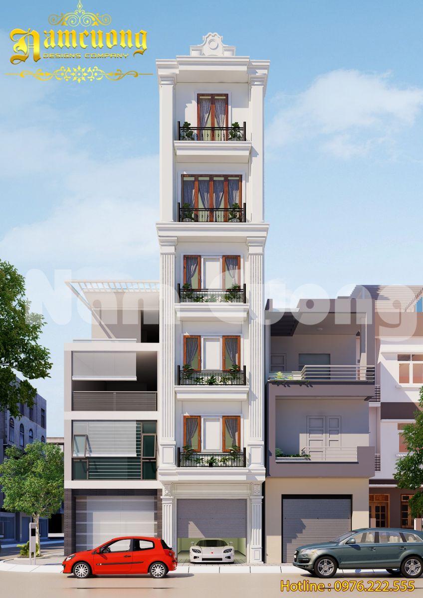 Thiết kế nhà ống tân cổ điển 6 tầng tại Hải Phòng - NOCD 012