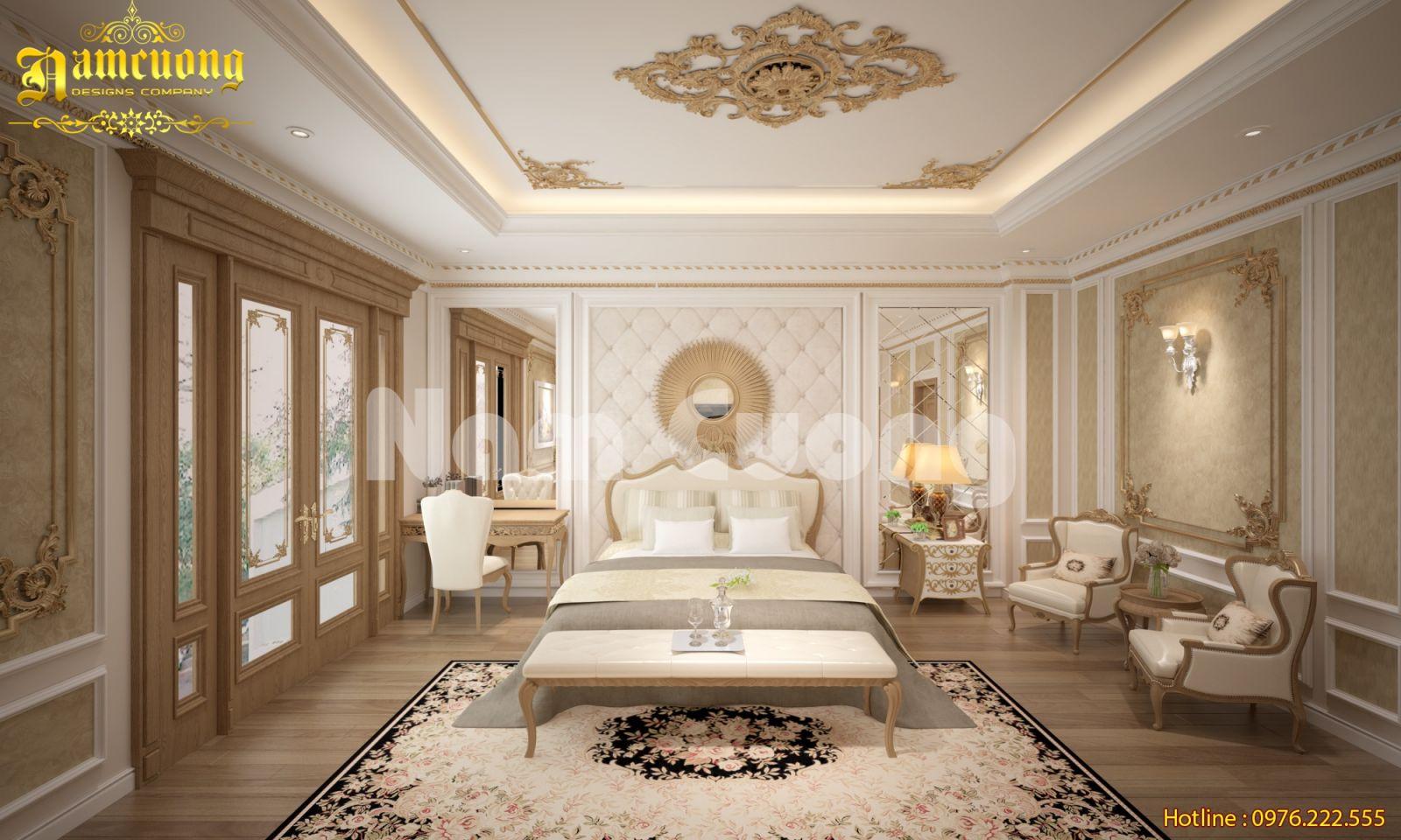 Thiết kế nội thất phòng ngủ tân cổ điển với tone màu trung tính