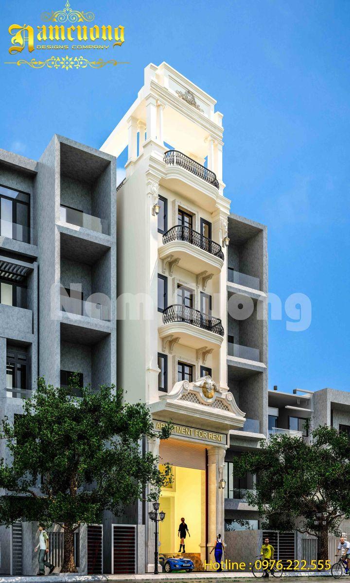 Mẫu thiết kế nhà ống tân cổ điển cho thuê tại Sài Gòn - NPTCD 018