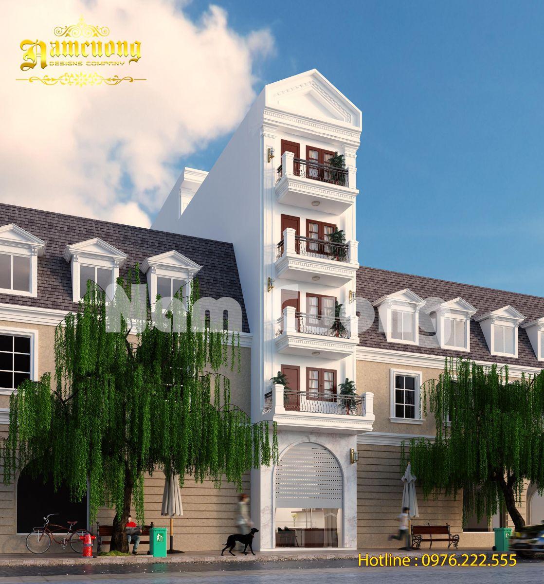 Thiết kế nhà ống ngang 3 tân cổ điển đẹp tại Hà Nội