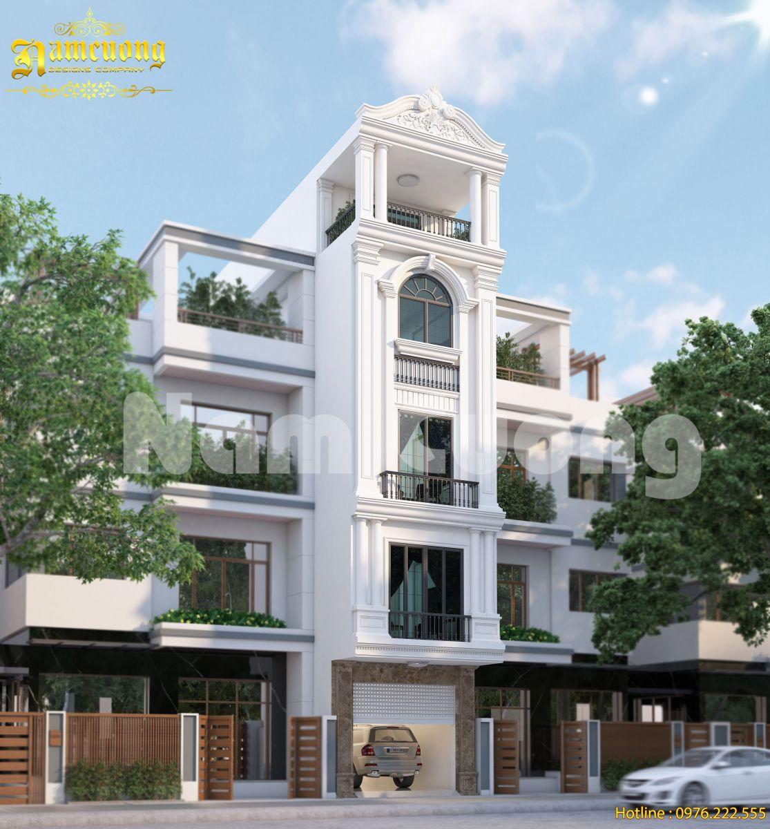 Thiết kế nhà đẹp- Nhà ống tân cổ điển 5 tầng
