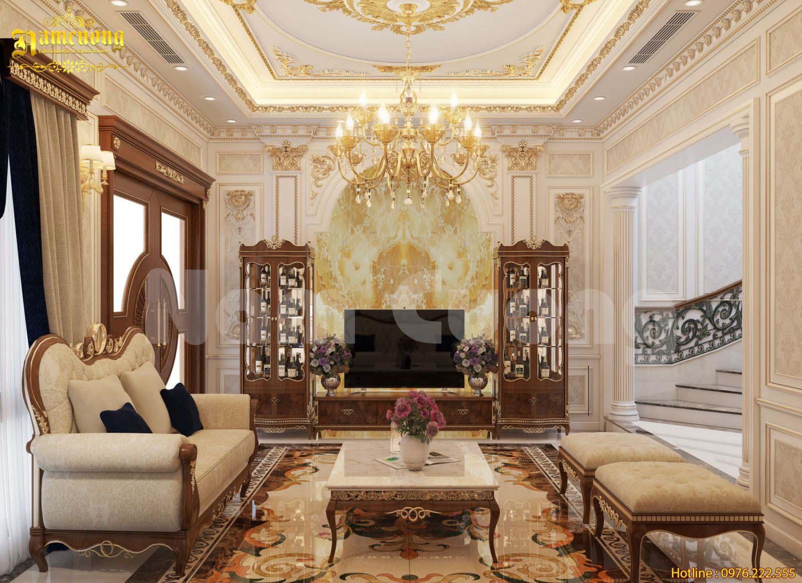 Thiết kế nội thất khách bếp tân cổ điển cho biệt thự kiểu Pháp