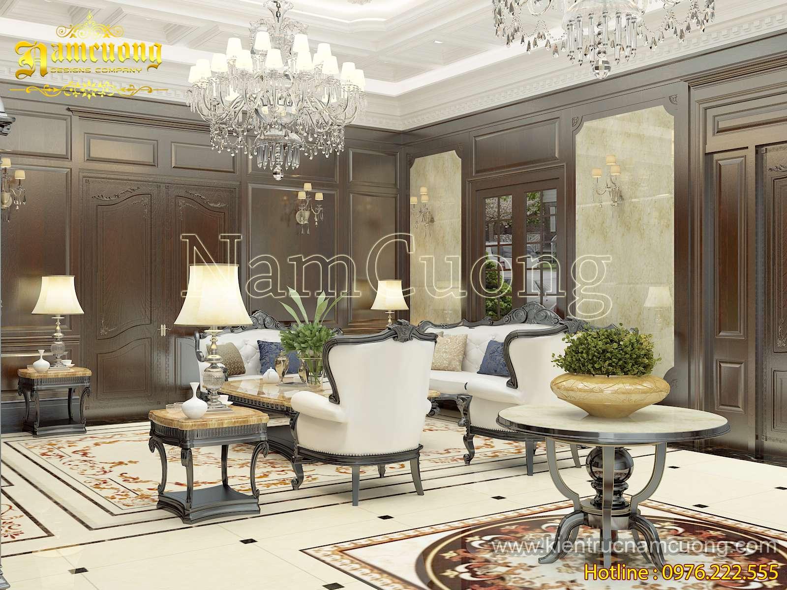 Thiết kế nội thất phòng khách và bếp ăn biệt thự tân cổ điển