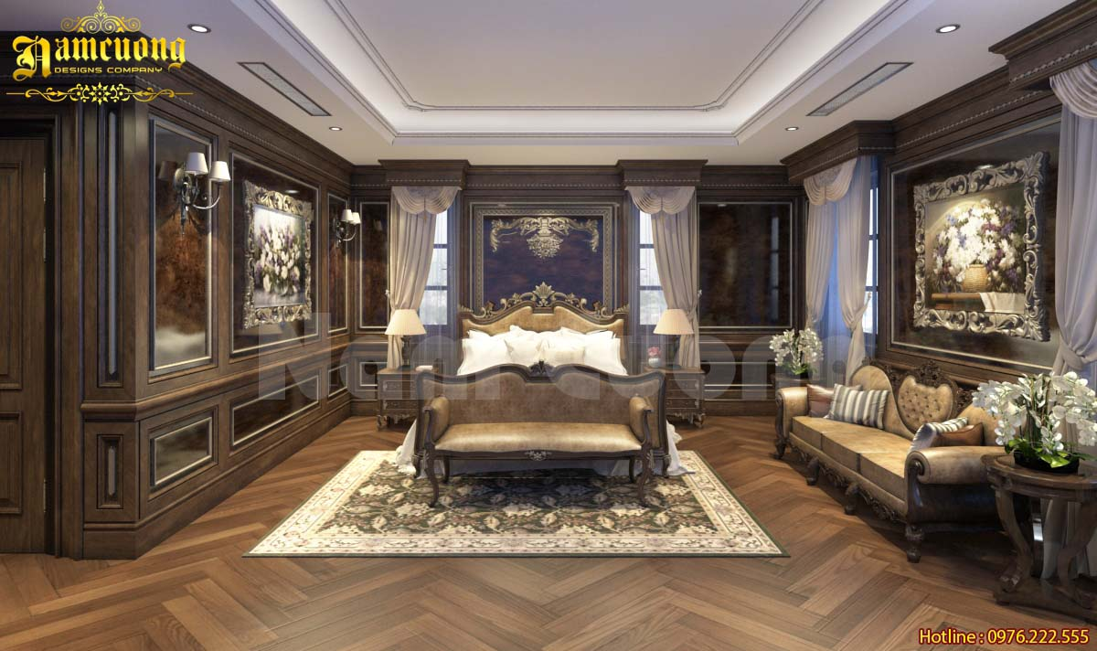Nội thất phòng ngủ sang trọng, ấn tượng cho nhà tân cổ điển
