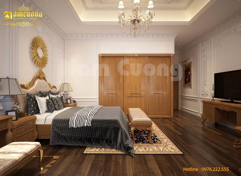 Mẫu thiết kế nội thất phòng ngủ sang trọng với phong cách tân cổ điển - NTPNCD 078