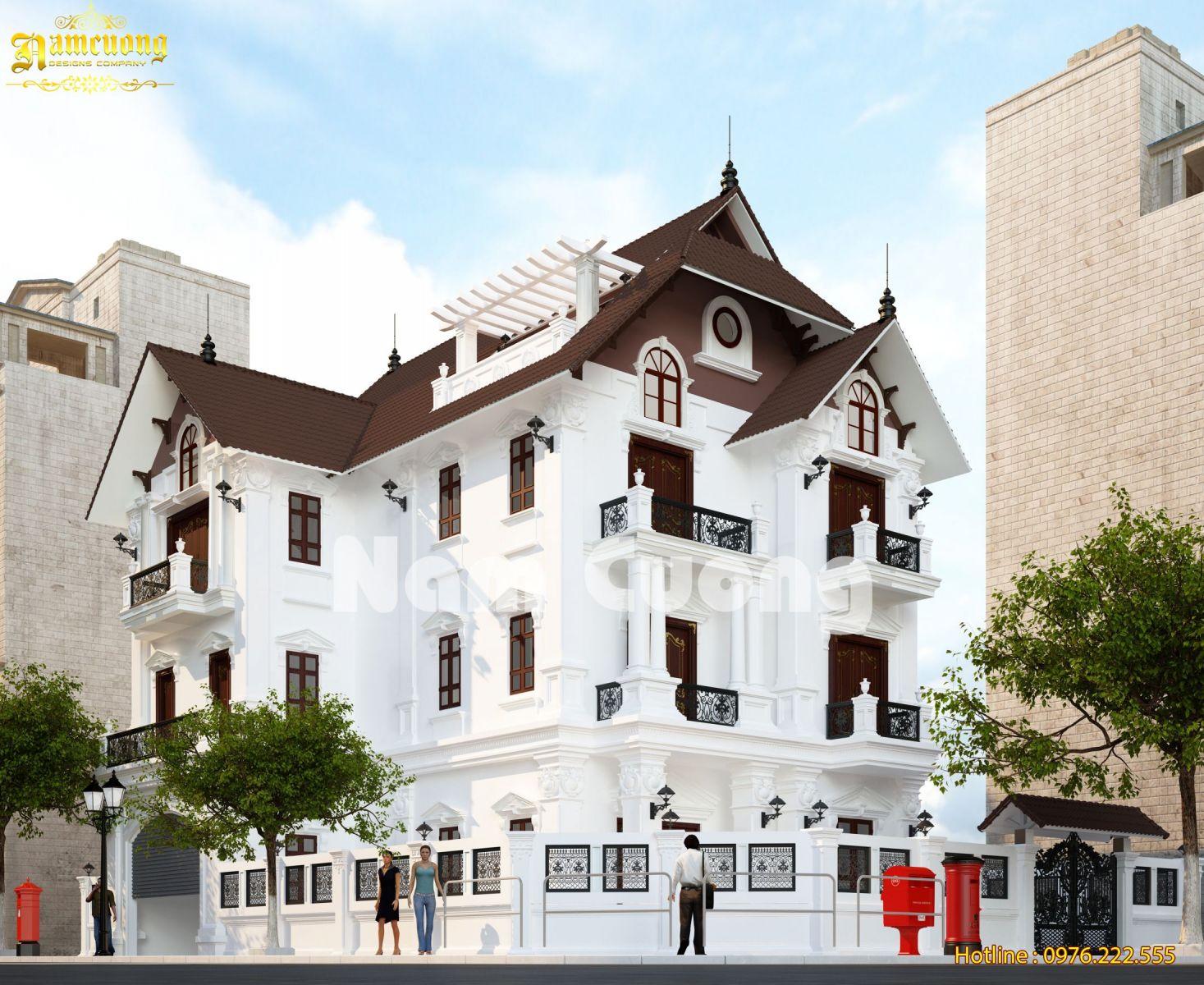 Thiết kế kiến trúc biệt thự tân cổ điển 3 tầng - BTTCD 016