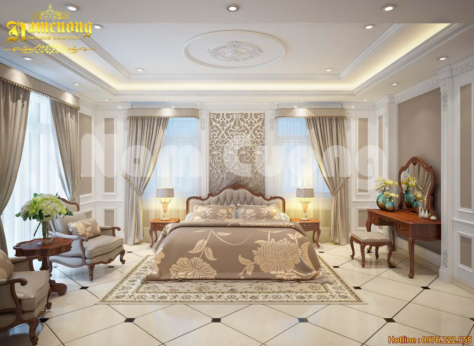 Mẫu thiết kế phòng ngủ cho biệt thự lâu đài tại Sài Gòn