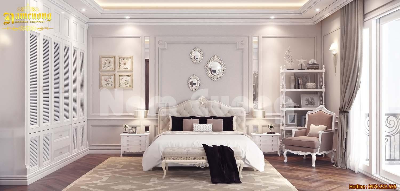Thiết kế nội thất phòng ngủ với gam hồng nữ tính